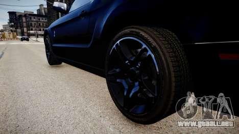 Ford Mustang Shelby GT500 2010 para GTA 4 vista hacia atrás