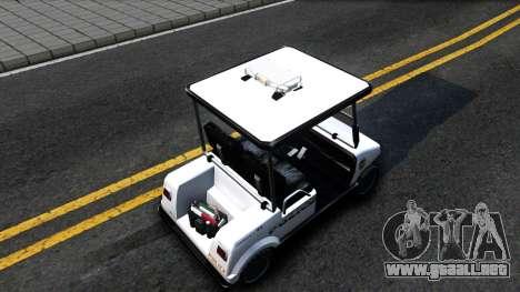 Caddy Metropolitan Police 1992 para GTA San Andreas vista hacia atrás