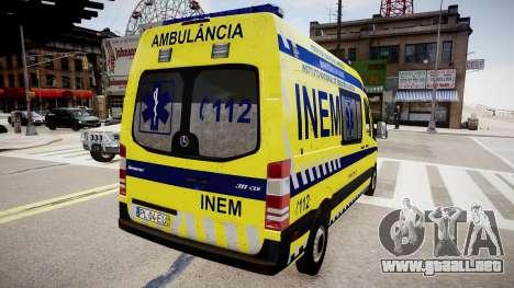 INEM Ambulance para GTA 4 Vista posterior izquierda