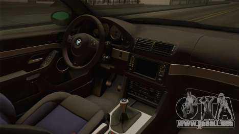 BMW M5 E39 Stock 2001 para visión interna GTA San Andreas