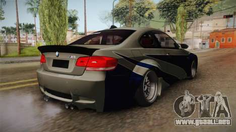 BMW M3 NFS Most Wanted Liberty Walk para GTA San Andreas vista posterior izquierda