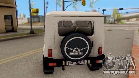 UAZ Hunter para GTA San Andreas vista posterior izquierda