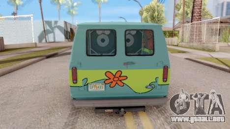 Ford Econoline 150 Scooby-Doo Mystery Machine para GTA San Andreas vista posterior izquierda