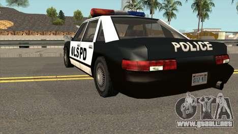 Echo Police SA Style para GTA San Andreas vista posterior izquierda
