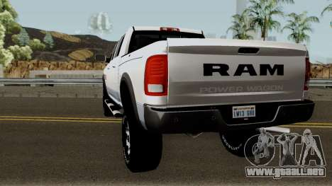 Dodge Ram 2500 Power Wagon 2017 para GTA San Andreas vista posterior izquierda