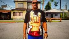 Rock Hand Black T-Shirt para GTA San Andreas